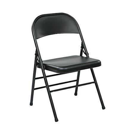 Office Star® Work Smart® Metal Mid-Back Folding Chairs, Black, Pack Of 4