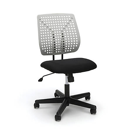 Essentials By OFM Plastic Mid-Back Task Chair, Gray/Black