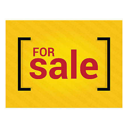 Plastic Sign, For Sale Yellow, Horizontal