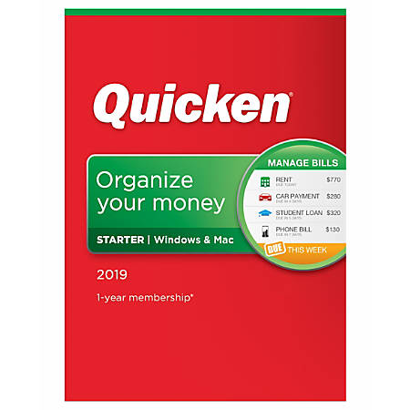 Quicken® Starter 2019 Personal Finance Software, For PC And Apple® Mac®, Traditional Disc