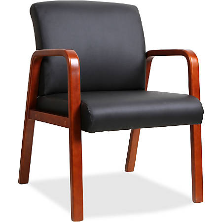 Lorell® Wood Guest Chair, Black Bonded Leather/Cherry Frame