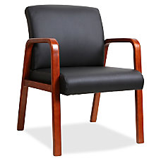 Lorell Black Leather Wood Frame Guest