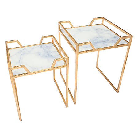 Zuo Modern Faux Marble Accent Tables, Square, White/Gold, Set Of 2 Tables