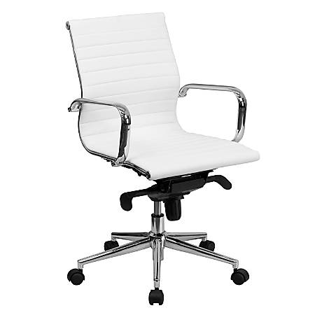 Flash Furniture Ribbed Upholstered Leather Mid-Back Swivel Conference Chair, White/Silver