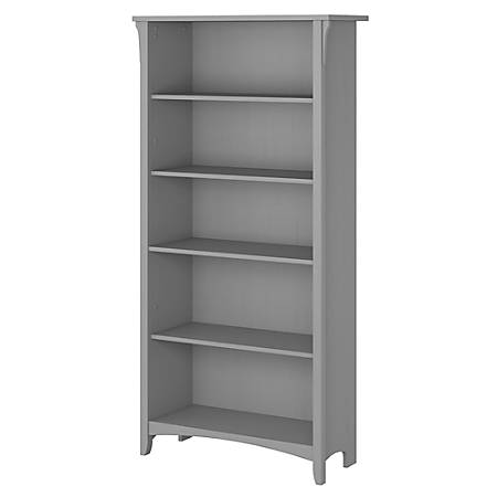 Bush Furniture Salinas 5 Shelf Bookcase Cape Cod Gray