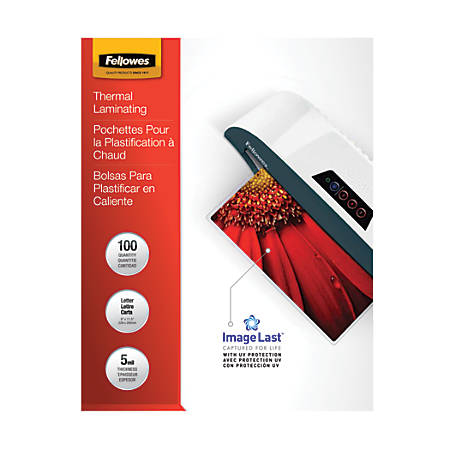 "Fellowes® ImageLast Laminating Pouches, UV Protection, 9"" x 11 1/2"", 5 Mil, Glossy, Pack Of 100"
