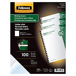fellowes clear presentation binding covers 8 12 11 clear pack of