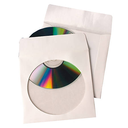 Quality Park Tech-No-Tear™ CD/DVD Sleeves, White, Pack Of 100