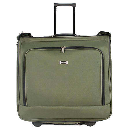 "Overland Geoffrey Beene 42"" Rolling Garment Bag, Olive Green"