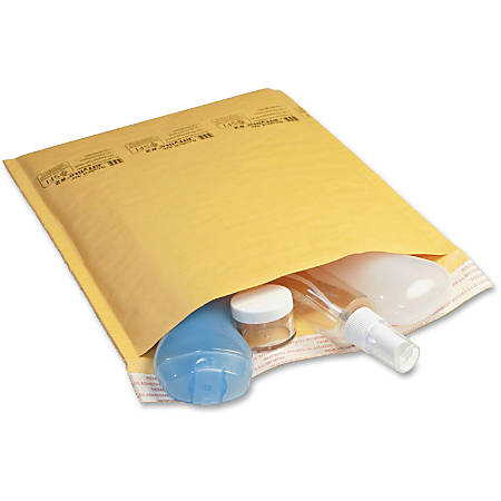 """Jiffy Mailer Laminated Air Cellular Cushion Mailers - Padded - #7 - 14 1/2"""" Width x 20"""" Length - Self-sealing - Kraft - 10 / Pack - Golden Brown"""
