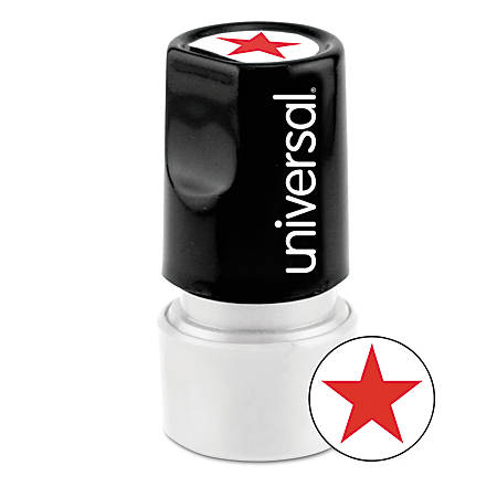 "Universal® Round Pre-Inked Message Stamp, Star, 3/4"" Impression, Red"