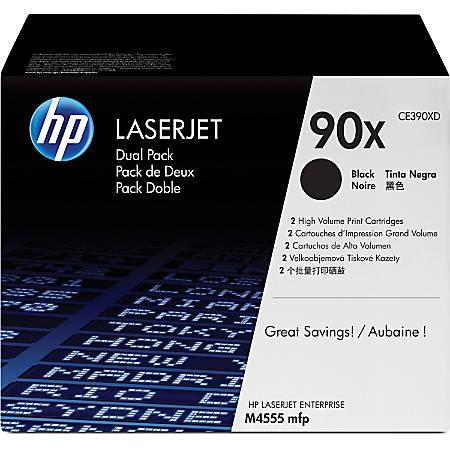 HP 90X, Black Original Toner Cartridges (CE390XD), Pack Of 2