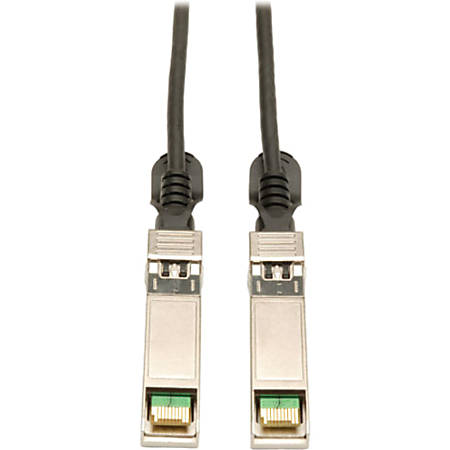 Tripp Lite 2.5M SFP+ 10Gbase-CU Twinax Passive Copper Cable SFP-H10GB-CU2-5M Compatible Black 8ft 8' - QSFP+ for Network Device - 8.20 ft - 1 x SFF-8431 Male SFP+ - 1 x SFF-8431 Male SFP+ - Black