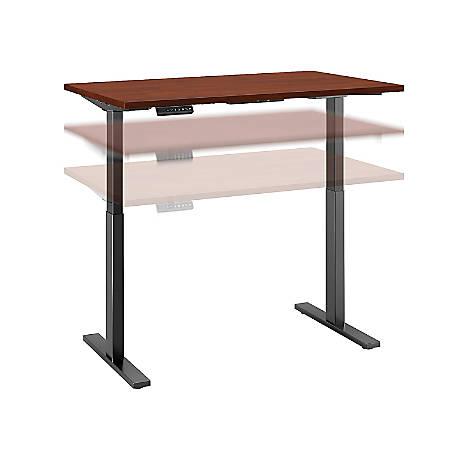 "Bush Business Furniture Move 60 Series 48""W x 24""D Height Adjustable Standing Desk, Hansen Cherry/Black Base, Premium Installation"