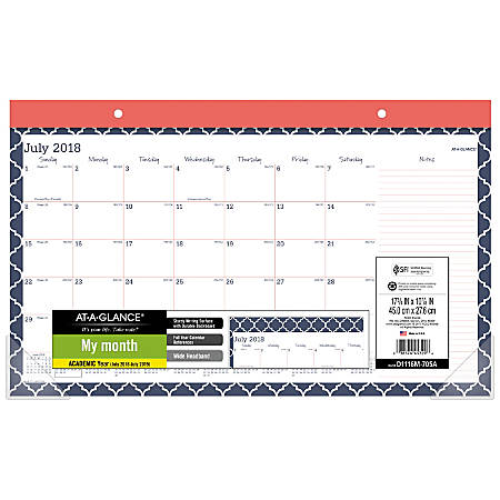 """AT-A-GLANCE® Emma Moroccan Academic Compact Monthly Desk Pad, 17 3/4"""" x 10 7/8"""", 30% Recycled, Navy/Red/White, July 2018 to June 2019"""