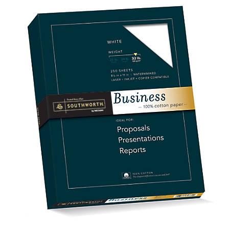 "Southworth® 100% Cotton Business Paper, 8 1/2"" x 11"", 32 Lb, White, Box Of 250"
