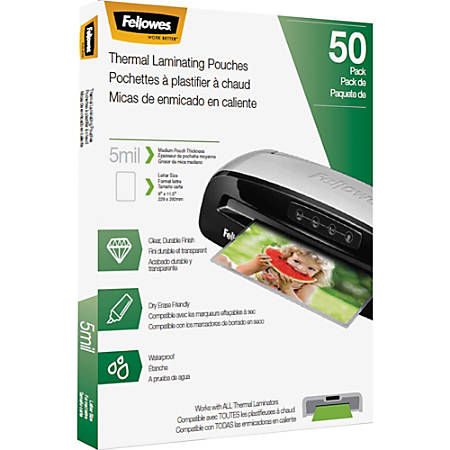 """Fellowes Thermal Laminating Pouches - Letter, 5mil, 50 pack - Sheet Size Supported: Letter 8.50"""" Width x 11"""" Length - Laminating Pouch/Sheet Size: 5 mil Thickness - Glossy - for Document - Photo-safe, Durable - Clear - 50 / Pack"""