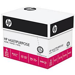 "HP Multi-Use Paper, Letter Size (8 1/2"" x 11""), 96 (U.S.) Brightness, 20 Lb, Case Of 2,500 Sheets"