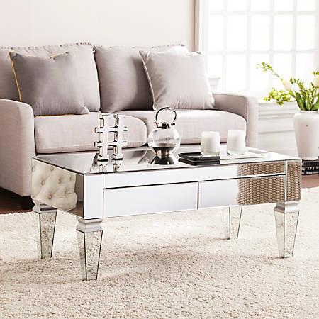 Southern Enterprises Darien Contemporary Mirrored Cocktail Table, Rectangular, Matte Silver/Maroon