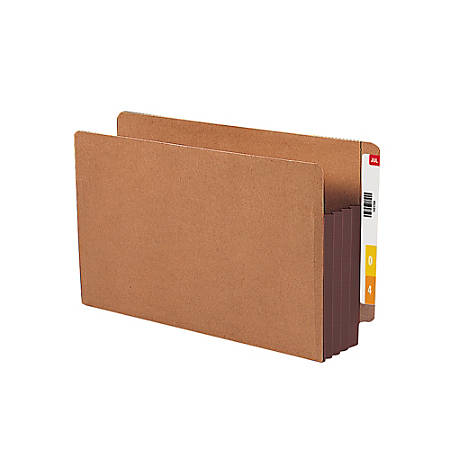 """Smead® Redrope End-Tab File Pockets With Gussets, Legal Size, 3 1/2"""" Expansion, 30% Recycled, Dark Brown, Box Of 10"""