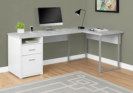 Monarch Specialties L Shaped Computer Desk With 2 Drawers Gray Cementwhite By Office Depot Officemax
