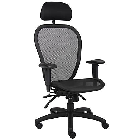 Boss Multifunction Mesh Mid-Back Task Chair, With Headrest, Black/Black