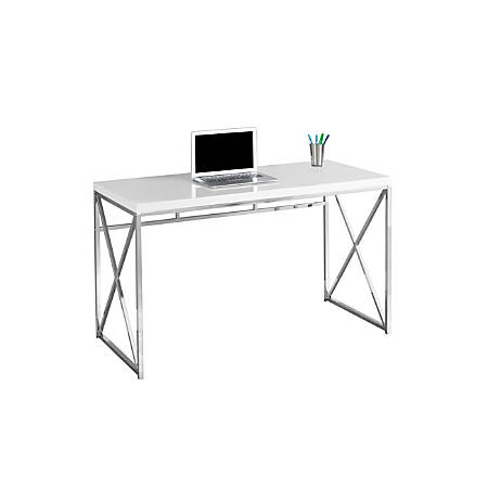 Monarch Specialties Contemporary Computer Desk With Framed Criss-Cross Legs, Chrome/White