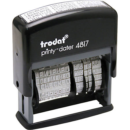 "US Stamp & Sign 12-In-1 Message/Date Stamp, 2""W x 0.38""L Impression, 70% Recycled, Black"