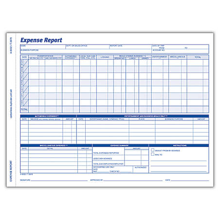 adams weekly expense report 8 12 x 11 716 pack of 50 sets by office