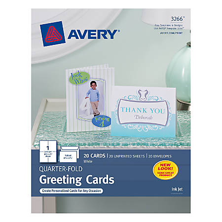 Avery quarter fold greeting cards 4 14 x 5 12 white pack of 20 by avery quarter fold greeting cards 4 m4hsunfo