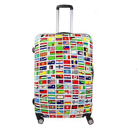"ful Flags ABS Upright Rolling Suitcase, 24""H x 17 3/8""W x 10 13/16""D, Multicolor"
