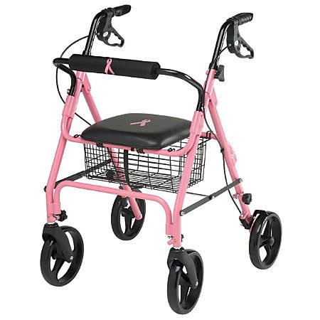 "Guardian Aluminum Rollator, 8"" Wheels, Pink"
