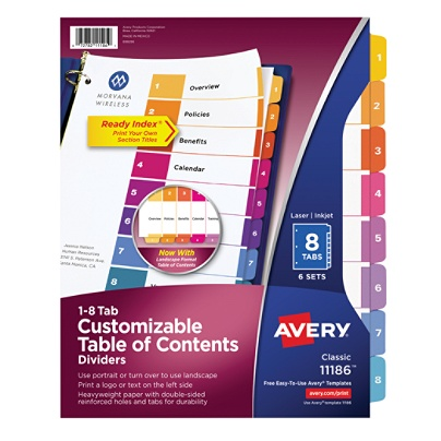 Avery Ready Index 20percent Recycled Table Of Contents Dividers 1 8