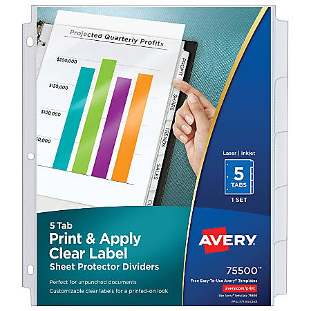 Avery Print Apply Clear Label Sheet Protector Dividers With Index