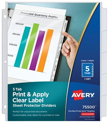Avery Print And Apply Clear Label Sheet Protector Dividers With