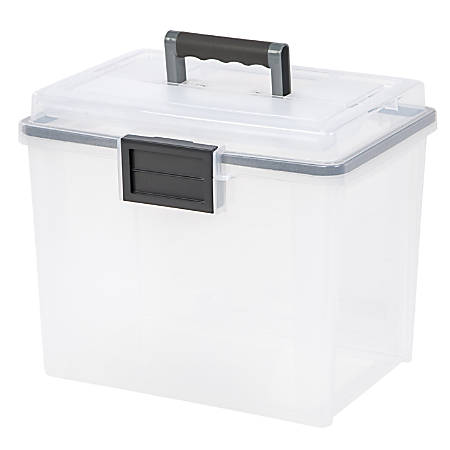 "IRIS® Weather-Tight Mobile File Box, 11 1/2""H x 13 3/4""W x 10 7/16""D, Clear"