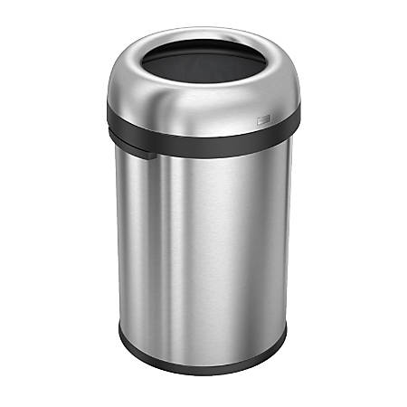 simplehuman® Bullet Open Trash Can, 30 Gallons, Brushed Stainless Steel