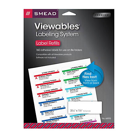 Smead® Viewables® Multipurpose Labels, 64915, Refill Kit, White, Pack Of 160 Labels