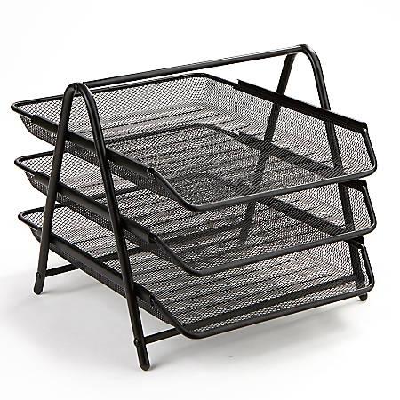 Steel Mesh Paper Tray Desk Organizer