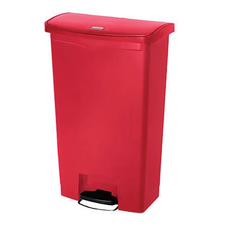 Rubbermaid® Slim Jim Rectangular Plastic Wastebasket, Step-On,18 Gallons, Red