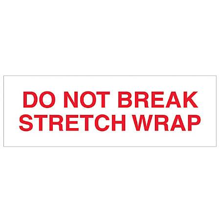 "Tape Logic® Do Not Break Stretch Wrap Preprinted Carton Sealing Tape, 3"" Core, 3"" x 110 Yd., Red/White, Pack Of 24"