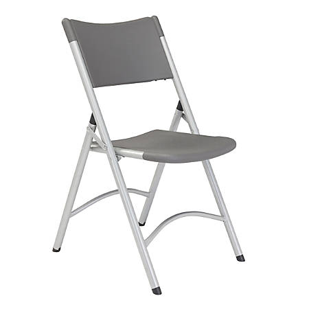 National Public Seating Series 600 Folding Chairs, Slate Gray/Silver, Pack Of 4 Chairs