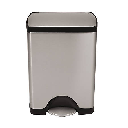 simplehuman® Rectangular Step Trash Can, 8 Gallons, Brushed Stainless Steel