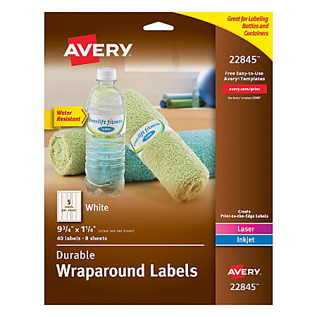 "Avery® Permanent Durable Wraparound Labels, 22845, 9 3/4"" x 1 1/4"", White, Pack Of 40"