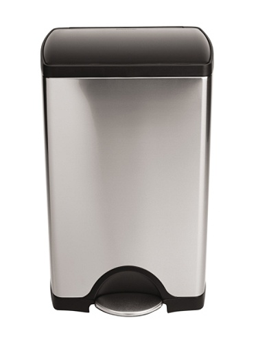 Simplehuman Rectangular Step Trash Can 10 Gallons Brushed Stainless Steelblack By Office Depot Officemax