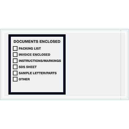 """Tape Logic® Preprinted Packing List Envelopes, Transportation, Documents Enclosed, 5 1/2"""" x 10"""", Printed Clear, Case Of 1,000"""