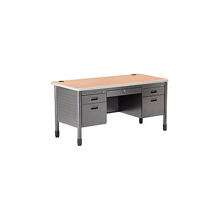 OFM 66-Series Metal Teacher's Desk, Gray/Maple