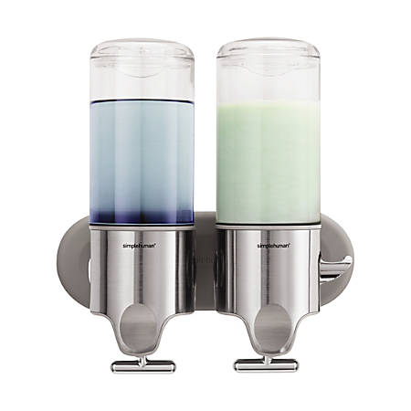 simplehuman® Twin Wall Mount Soap Pumps, 15 Oz, Stainless Steel