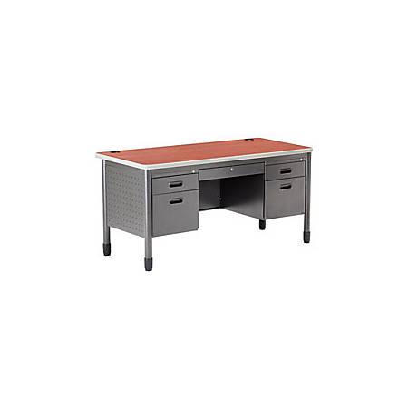 OFM 66-Series Metal Teacher's Desk, Gray/Cherry