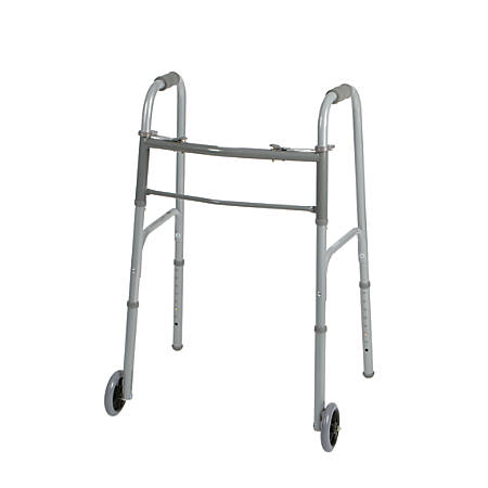 "Guardian Adult 2-Button Folding Walkers, 5"" Wheels, 32 - 39 1/2"", Case Of 4"